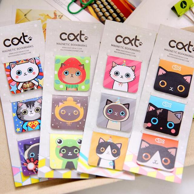 3PCS/ lot Magnet bookmarks cats designs Make funny books marker Magnetic page holder materials School supplies