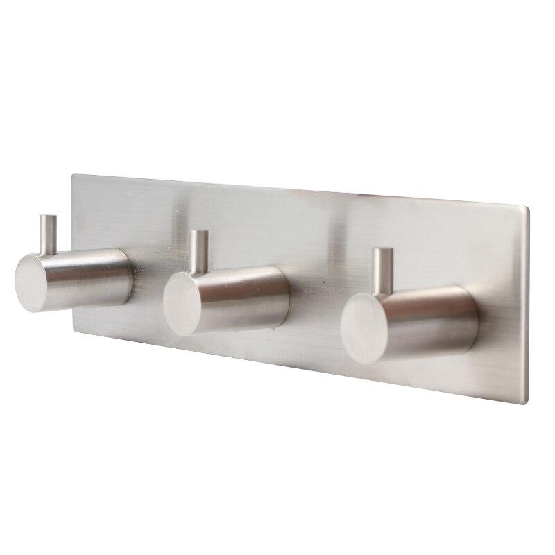 Self Adhesive Bamboo Wood Stainless Steel Towel Hooks Waterproof Rustproof C