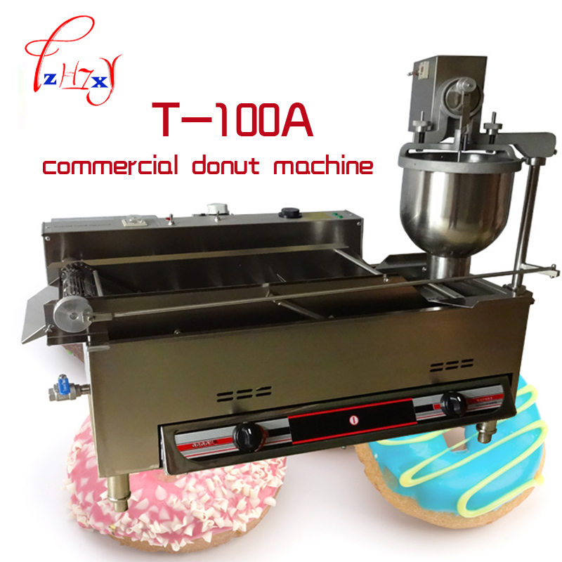 Gas and Electric Automatic Donut Machine T-100A Commercial Donut Machine Fryer Maker_Donut stainless steel Doughnut makers  1PC free shipping commercial manual spanish 6l gas fryer churro churrera fryer maker machine