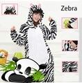 2016 nova Zebra Cosplay flanela Animal dos desenhos animados Pijama Pijama Pijama macacão Sleepsuit Primark Pijama adulto Plus Size