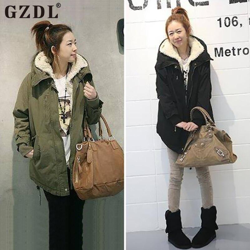 57c125b0ffe GZDL New Women Winter Coat Long Sleeve Zipper Thicken Fleece Hooded ...