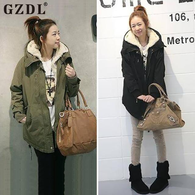 GZDL New Women Winter Coat Long Sleeve Zipper Thicken Fleece Hooded Parka Overcoat Jacket Outerwear Plus Size Clothing CL0098