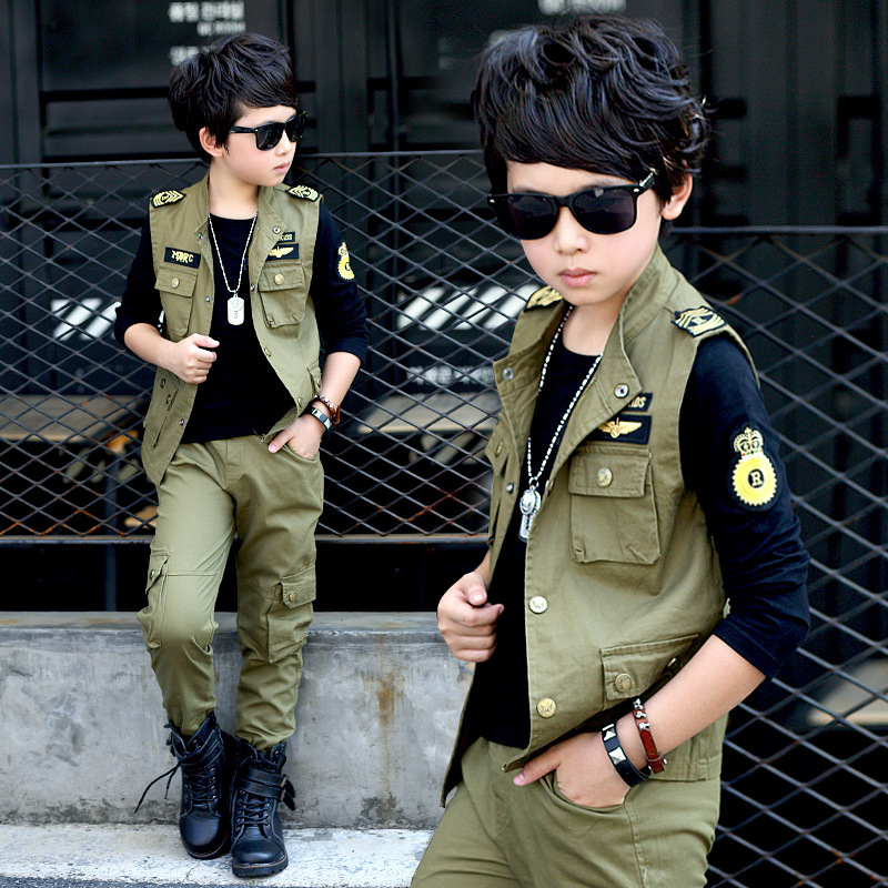 Spring big boys Khaki ArmyGreen clothing set 3pcs for children big kids Jacket T shirt pant clothes for 6 8 10 12 14 16 years