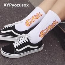 Fashion Funny Man Socks Cotton Street Style Skateboard Socks Hipster Hip Hop Flame Socks Gift For