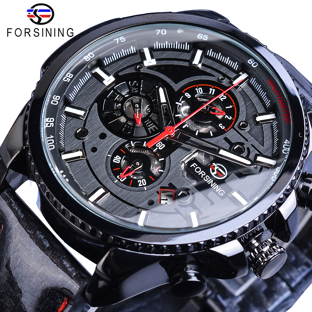 Forsining Black Racing Speed Automatic Mens Watch Self-Wind 3 Dial Date Display Polished Leather Sport Mechanical Clock DropshipForsining Black Racing Speed Automatic Mens Watch Self-Wind 3 Dial Date Display Polished Leather Sport Mechanical Clock Dropship
