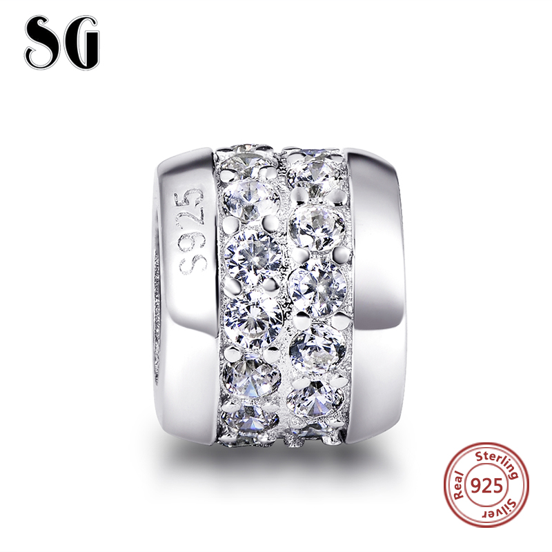 Fit Authentic pandora Bracelets Silver 925 Original Middle White Zircon Charms Collect Beads Pendant Antique Jewelry Style Gift