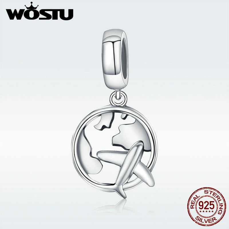 WOSTU New 925 Sterling Silver The Dream Of Traveling Dangle Beads Fit Original WST Charm Bracelet DIY Jewelry Gift DXC242