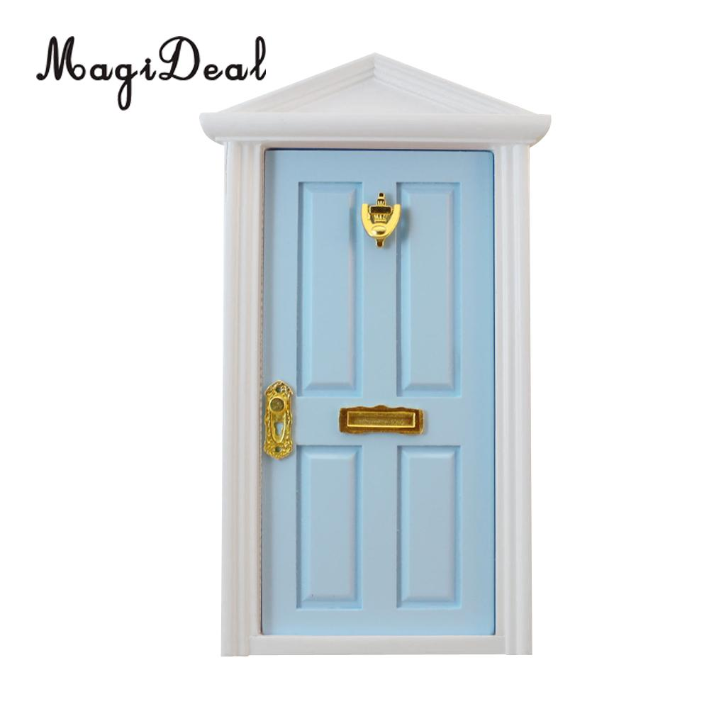 MagiDeal 1/12 Scale Dolls House Miniature Blue Wooden 4-Panel Inwardly Open Door for Dollhouse Bedroom Bathroom Furniture Toy