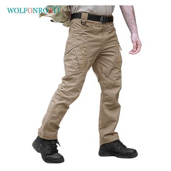 WOLFONROAD Outdoor Man sportowe spodnie do wędrówek pieszych IX9 mężczyźni Rip-stop Safari spodnie wojskowe miasto Cargo spodnie męskie wojskowe spodnie bojówki tanie i dobre opinie Black Brown Gray Khaki Green S M L XL 2XL 3XL4XL Breathable Anti-Pilling Anti-Wrinkle Anti-Shrink Hiking Camping Tactical Military Army