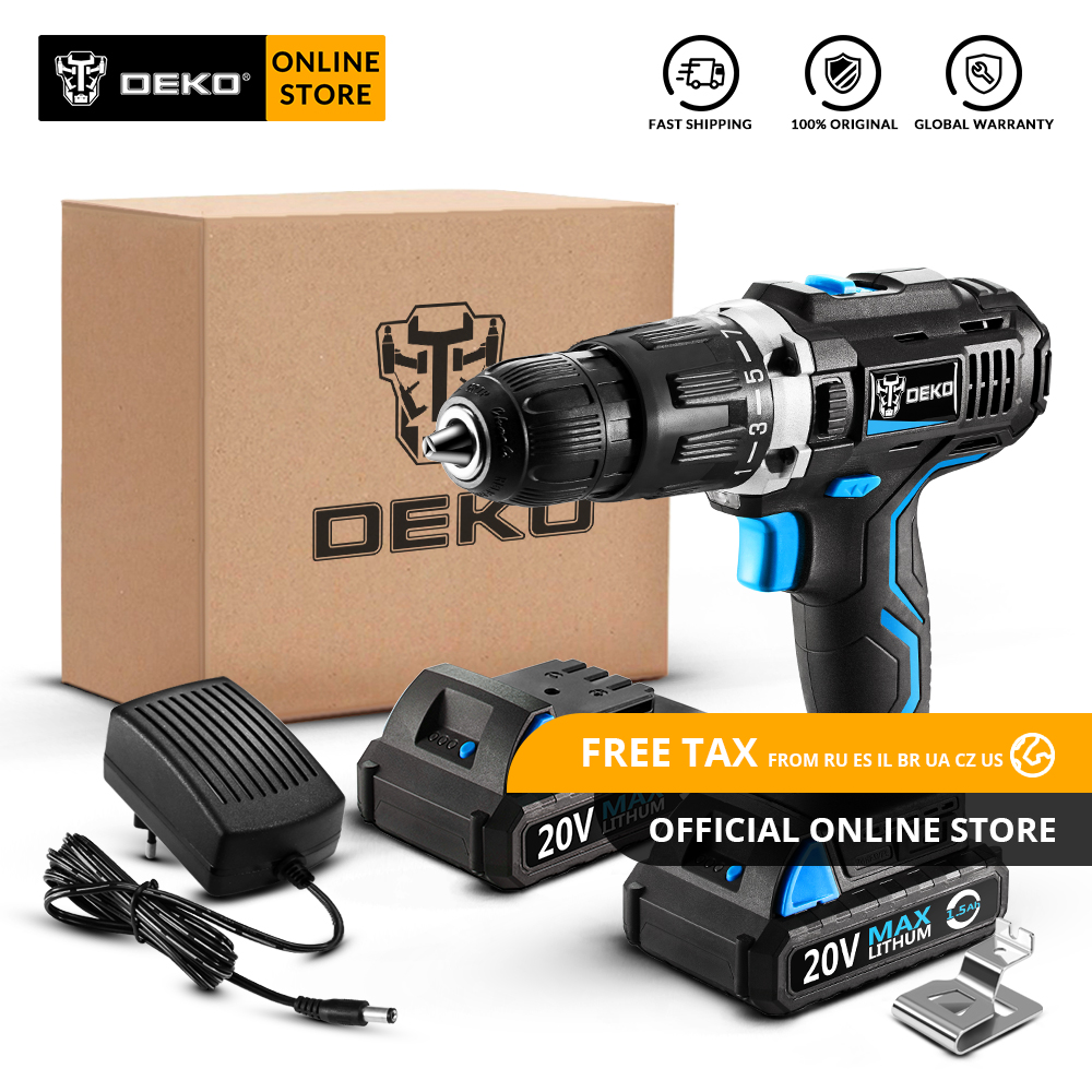 Original DEKO GCD20DU3 20V MAX Cordless Drill Electric Screwdriver Lithium-Ion Mini Power Driver Variable Speed LED 2 BatteryOriginal DEKO GCD20DU3 20V MAX Cordless Drill Electric Screwdriver Lithium-Ion Mini Power Driver Variable Speed LED 2 Battery