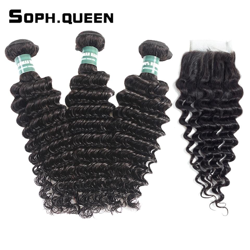 Soph Queen Indian Hair Remy Human Hair Bundles With Closure Deep Wave 3 Bundles With Closure