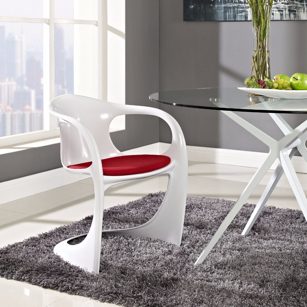 Minimalist Modern Design Plastic Dining Chair With Cushion
