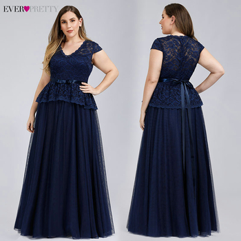 Navy Blue Evening Dresses Ever Pretty A-Line V-Neck Bow Sashes Elegant Evening Gowns Plus Size Lace Formal Dresses Robe Longue
