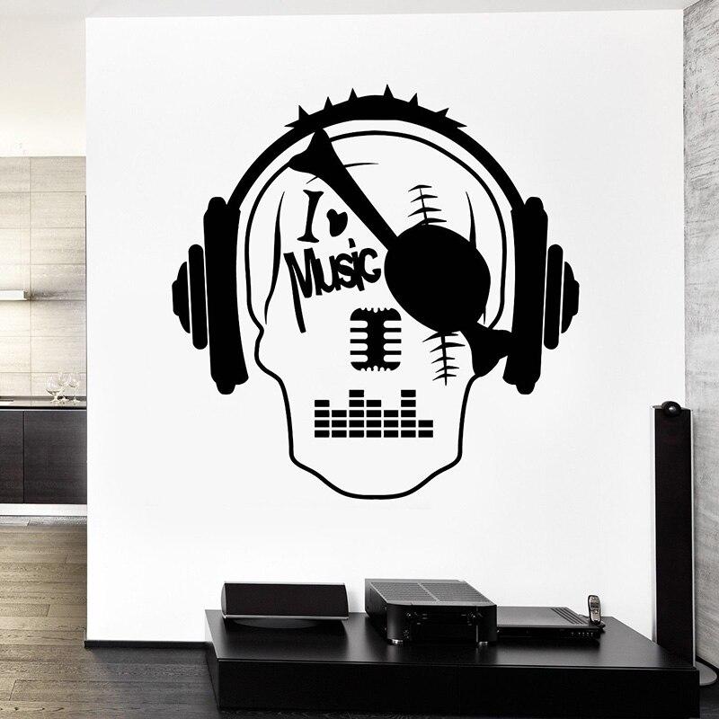 Music Note Wall Decals I Love Pirate Skull Sticker Art Mural Room Decoration Video Children S Decor H106