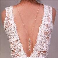 Backdrop Necklace Novel Design Crystal Long Pendant Necklaces Back Deep V Halter Back Chain Wedding Jewelry