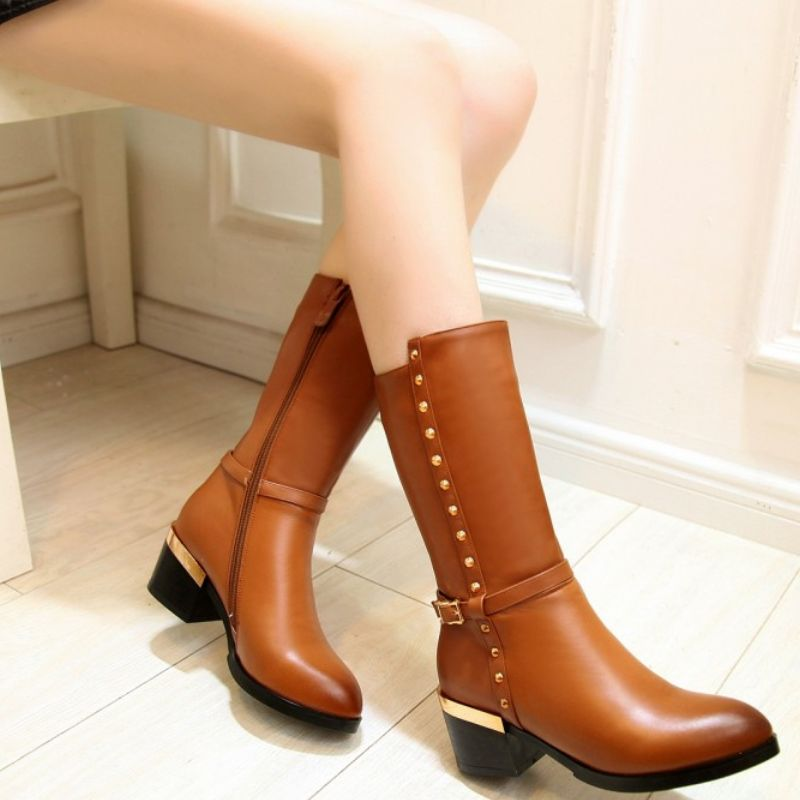 2588ec4cc6 Tamanho 33 44 KemeKiss mulheres reais genuíno couro de bezerro de salto  alto botas de salto meia bota de cano curto botas de neve quente sapatos  calçados ...