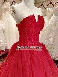 Image 4 - Платье на свадьбу, красное вино, со шнуровкой сзади, реальные фотографии, 2019