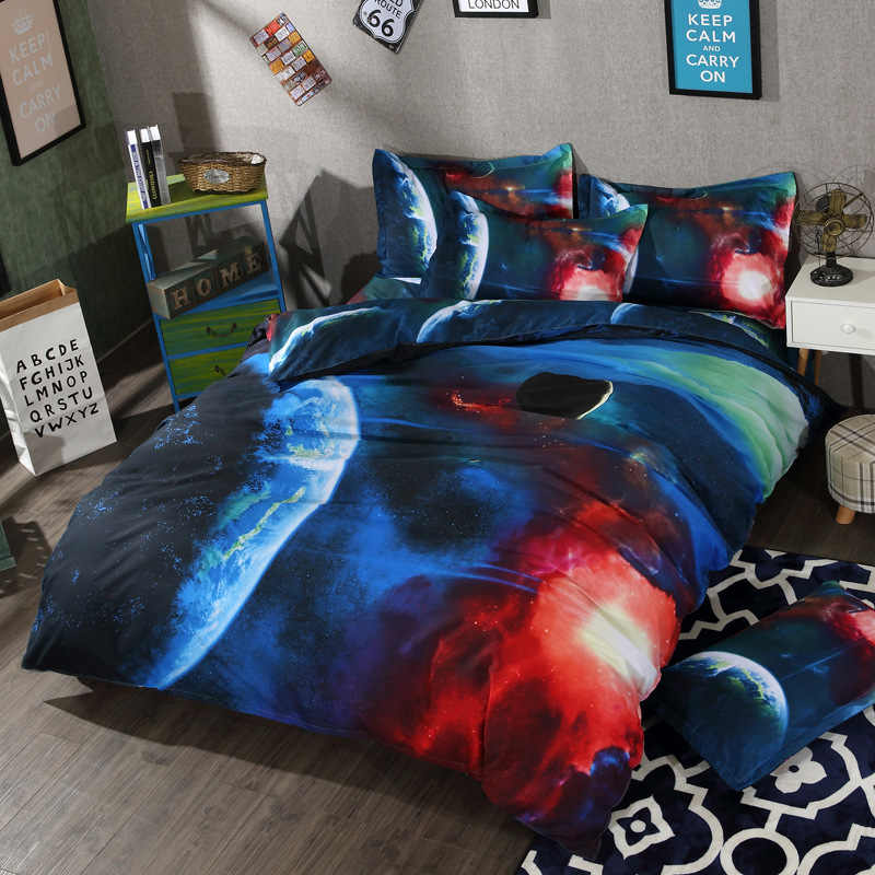 2 /3/ 4 Pcs Bedding Set Space Moon Star Twin Queen Size Bed Linen 3D Galaxy Universe and Outer Space Duvet Cover Sets