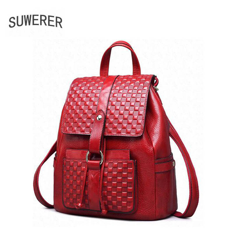 SUWERER new Genuine Leather backpack women luxury backpack women bags designer bags women backpack fashion embossed bag