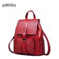 SUWERER new Genuine Leather backpack women luxury backpack women bags designer bags women backpack fashion embossed bag