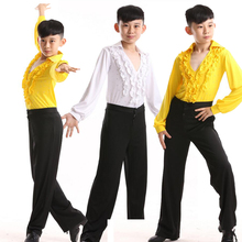 Latin Salsa Dance Costume Male Children's Ballroom Performing Party Dance Costume Tops + Pants Latin American