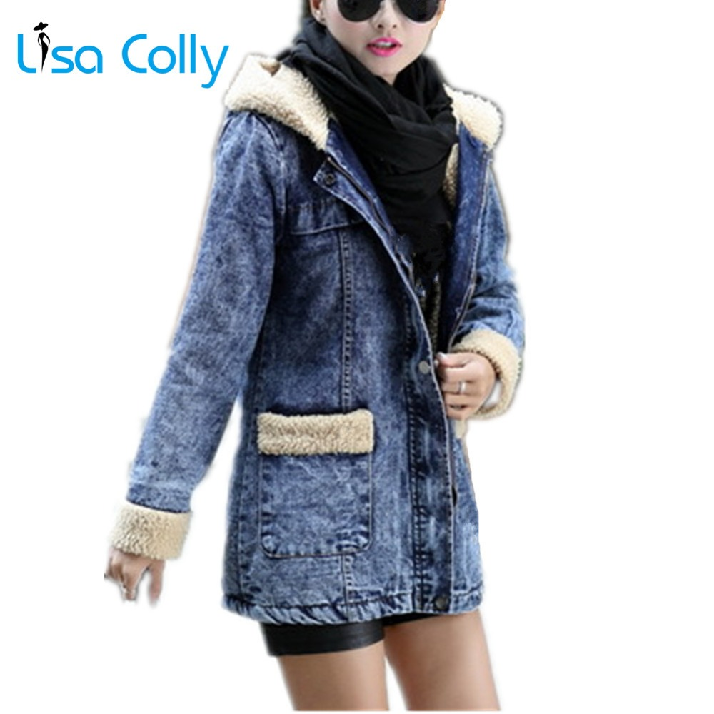 Lisa Colly New Women winter Thick Coat Denim   jacket   With Hooded women jean Coat   basic     jackets   Women warm cotton coat overcoat