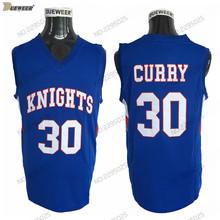 7b41d75b35c6 DUEWEER Mens Charlotte Christian Knights Stephen Curry High School  Basketball Jerseys Blue HS Stitched Basketball Shirts