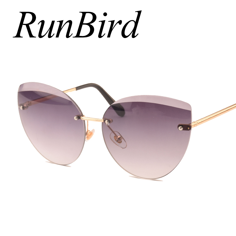 RunBird 2017 New Cat Eye Sunglasses Fashion Women Luxury Brand Designer Rimless Cateye Mirror Sun Glasses For Female UV400 1043R