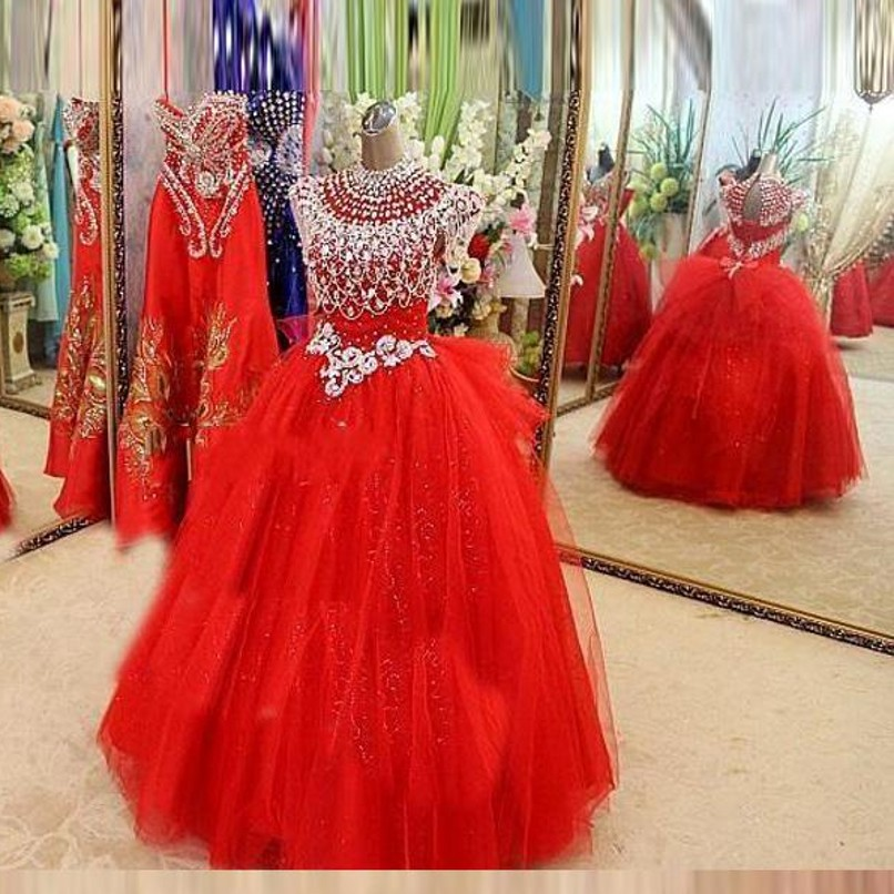 Red Flower Girl Dress Beaded Crystal Organza Floor Length Girls Pageant Ball Gowns Princess Long Flower