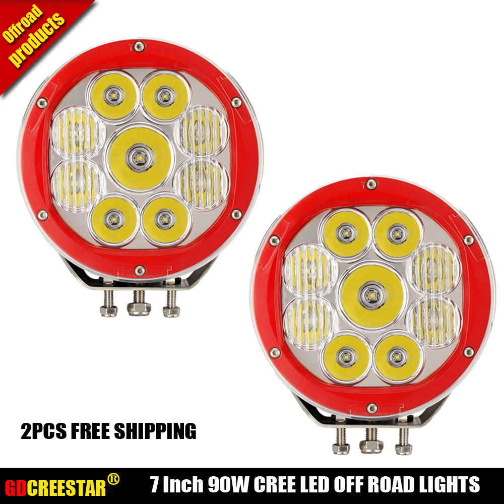 Round LED Driving Light 90W 10W High Power Spot Beam for Off road ATV UTV Golf Car lighting truck Pickup Ford work light x2pcs