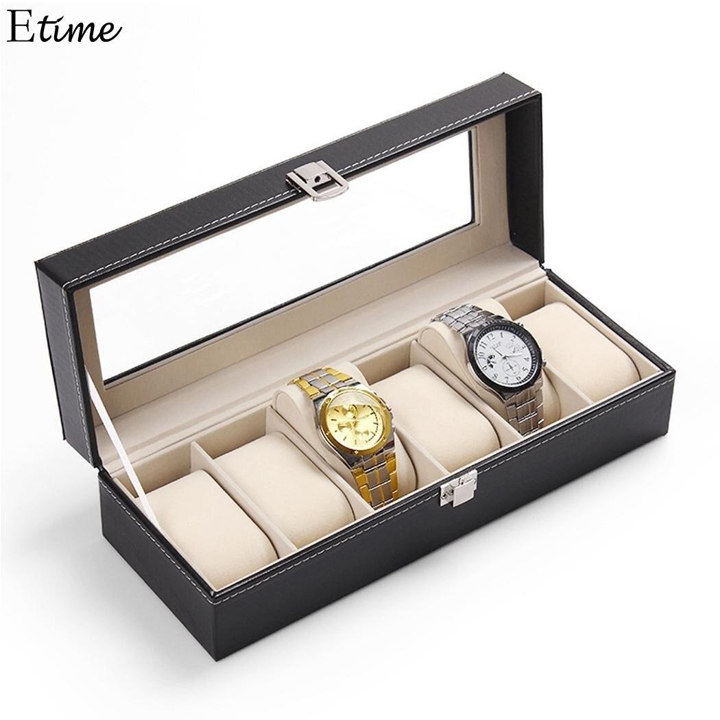 FANALA 5 Grids/6 Grids Watches Box Case Jewelry Storage Boxes Organizer PU Leather Watch Display Boxes Watch Winder boite montre multi grids desk storage organizer