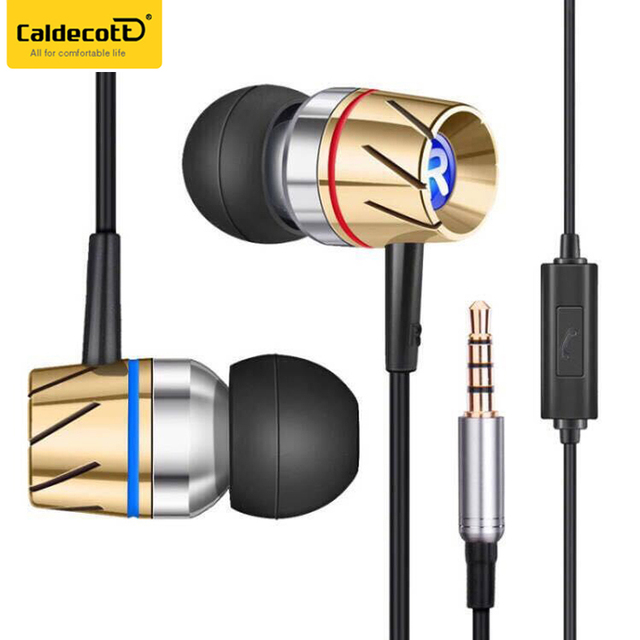 Caldecott HST-35 Mobile Accessories Metal Wired Earphone In Ear Earbuds With Microphone for Huawei
