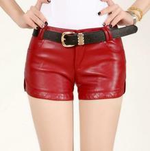 Сексуальные женские шорты из искусственной кожи прямые шорты Slim Fit