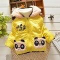 BibiCola Parkas Meninas inverno Panda Dos Desenhos Animados do bebê com capuz de algodão Casacos Casacos crianças Casaco Quente Crianças Outerwear Roupa Bonito