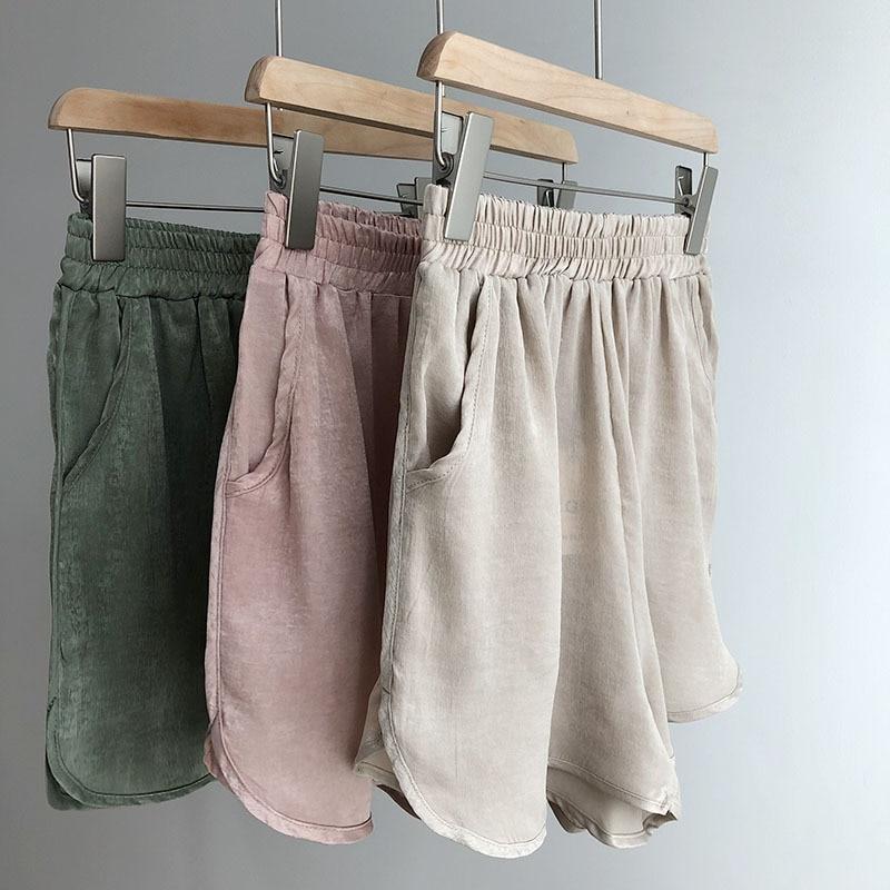 Great Quality Imitation Satin Shorts Women 2018 Summer Elastic Waist Loose Casual Shorts With Pockets