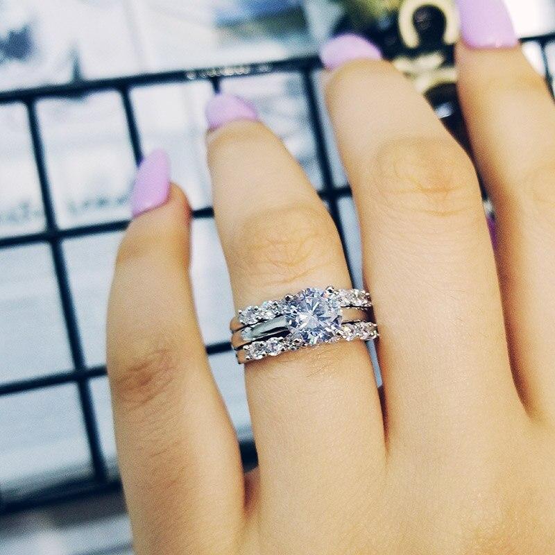 925 mincovní stříbro 3 v 1 kusy snubní prsteny sady pro ženy svatební ženich nevěsta prst šperky moonso R4324S