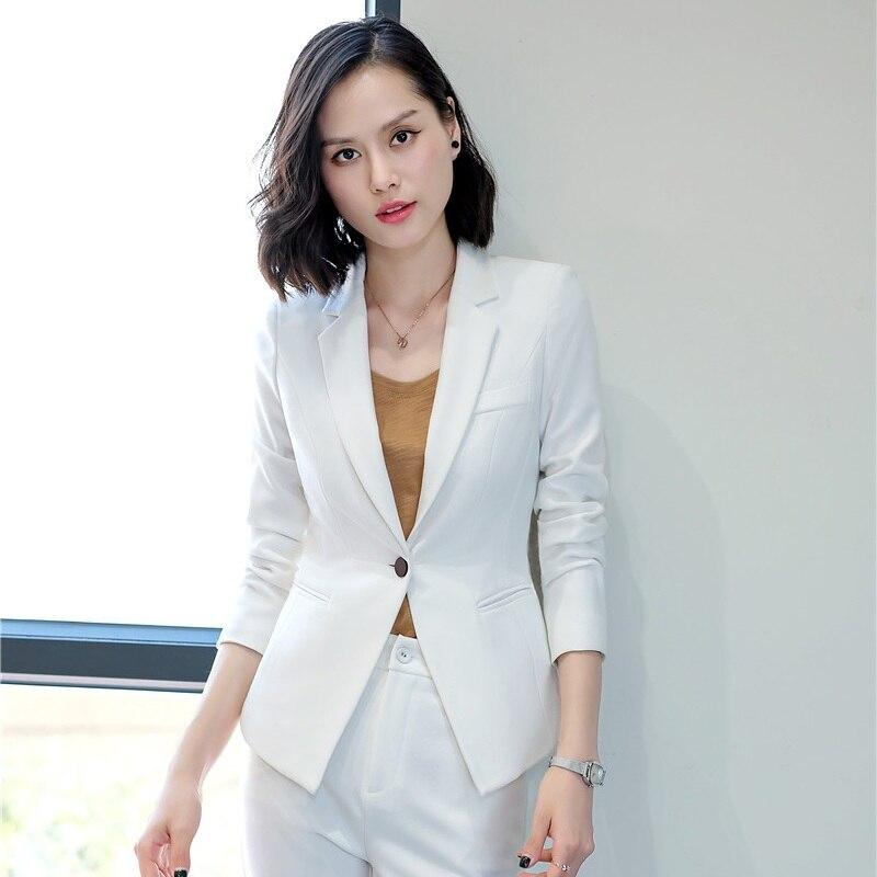 Uniforme Color Qualité Longues Bureau De Styles picture Travail Dames blanc Blanc Manches Noir À Vestes Vêtements Mode Haute Blazers Femmes dCWrBxoe