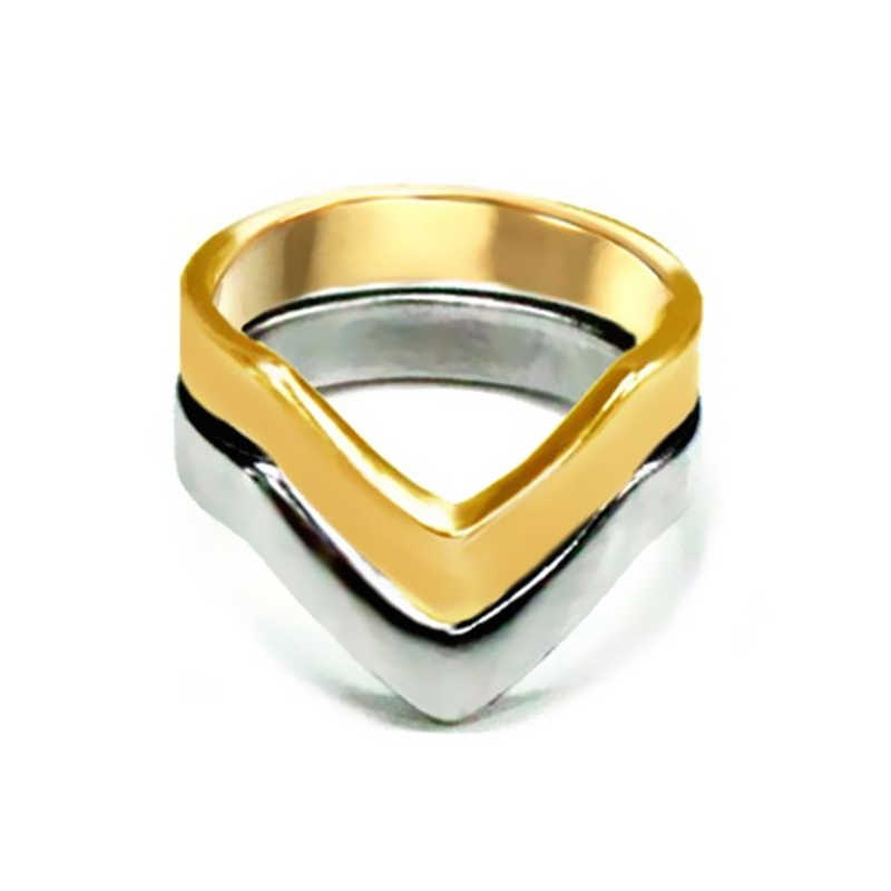 2019 new Fashion Vintage Handmade Gold ,silver wire Chevron Rings V Shape Ring, fashion design ring gift  jewelry wholesale R253