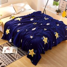 Blue Stars Fleece Blankets On The Bed Multi-size Children Flannel Blankets For Autumn Polyester Cartoon Throw Blankets/Bedspread(China)