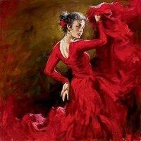 TOP art bonne peinture à l'huile-DANSEUR ESPAGNOL de Flamenco rouge danse woman-100 % peint à la main ART sur toile 24 pouces-livraison gratuite coût