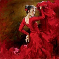 TOP art good oil painting SPANISH DANCER Flamenco red Dance woman 100% hand painted ART on canvas 24 inch free shipping cost