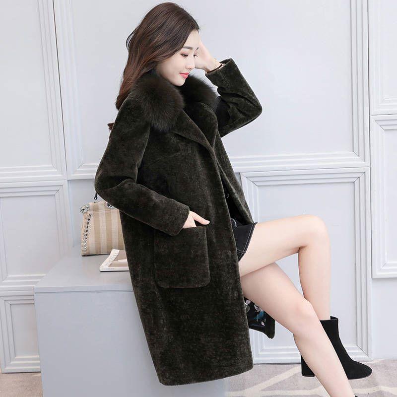 Vestes Femmes Nouvelle Manteaux Long Mode gris Lady Occasionnel Femelle Tendance 4xl Hiver Vert Office De 2018 Fourrure Chaud Automne Épais F89 Faux Plus Taille Rx4q4dYw