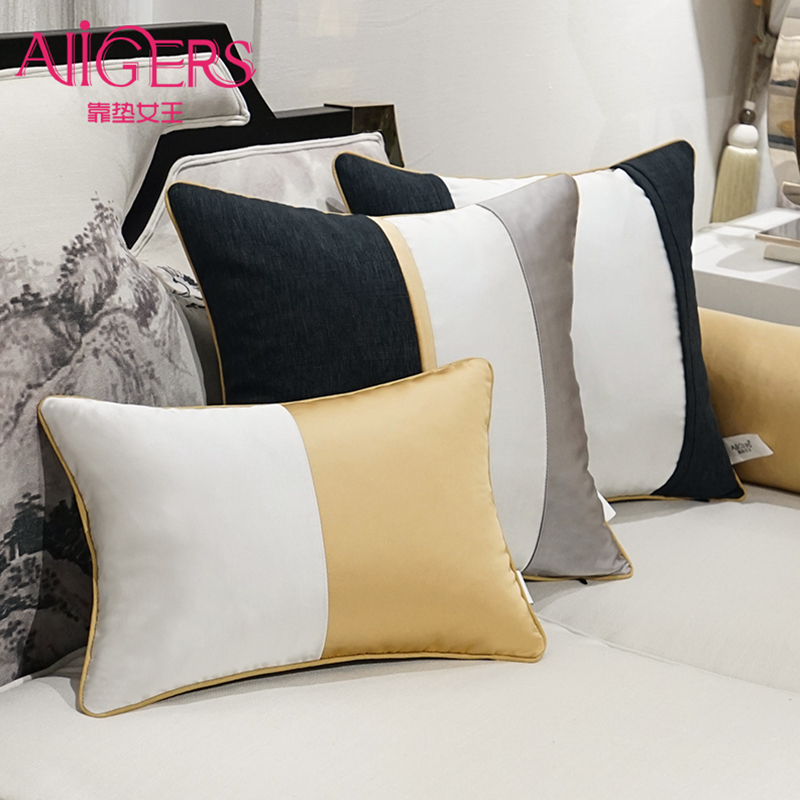 Avigers Luxury Modern Cushion Cover Pillow Case Patchwork Gold White Black Solid Home Decorative Sofa Office Throw Pillow Cover