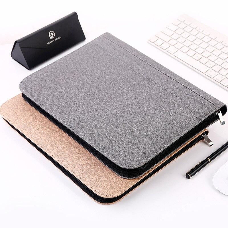 A4 cuir gestionnaire dossier de dossier de luxe grand multifonction fermeture à glissière Document Clip sac bureau affaires Pad folio fournitures + calculatrice