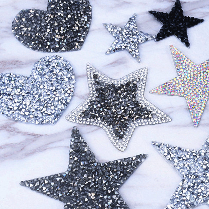 Appliques-Badge Star Patches Pentagram-Stickers Rhinestone Iron-On Crystal Diamond Stripes