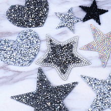 Multiple Sizes Crystal Rhinestone Star Patches for Clothing Iron on Clothes Appliques Badge Stripes Diamond Pentagram Stickers