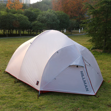 Hillman 3-4 person double layer silicon coated waterproof ultralight camping tent multiplayer light weight silicone tent