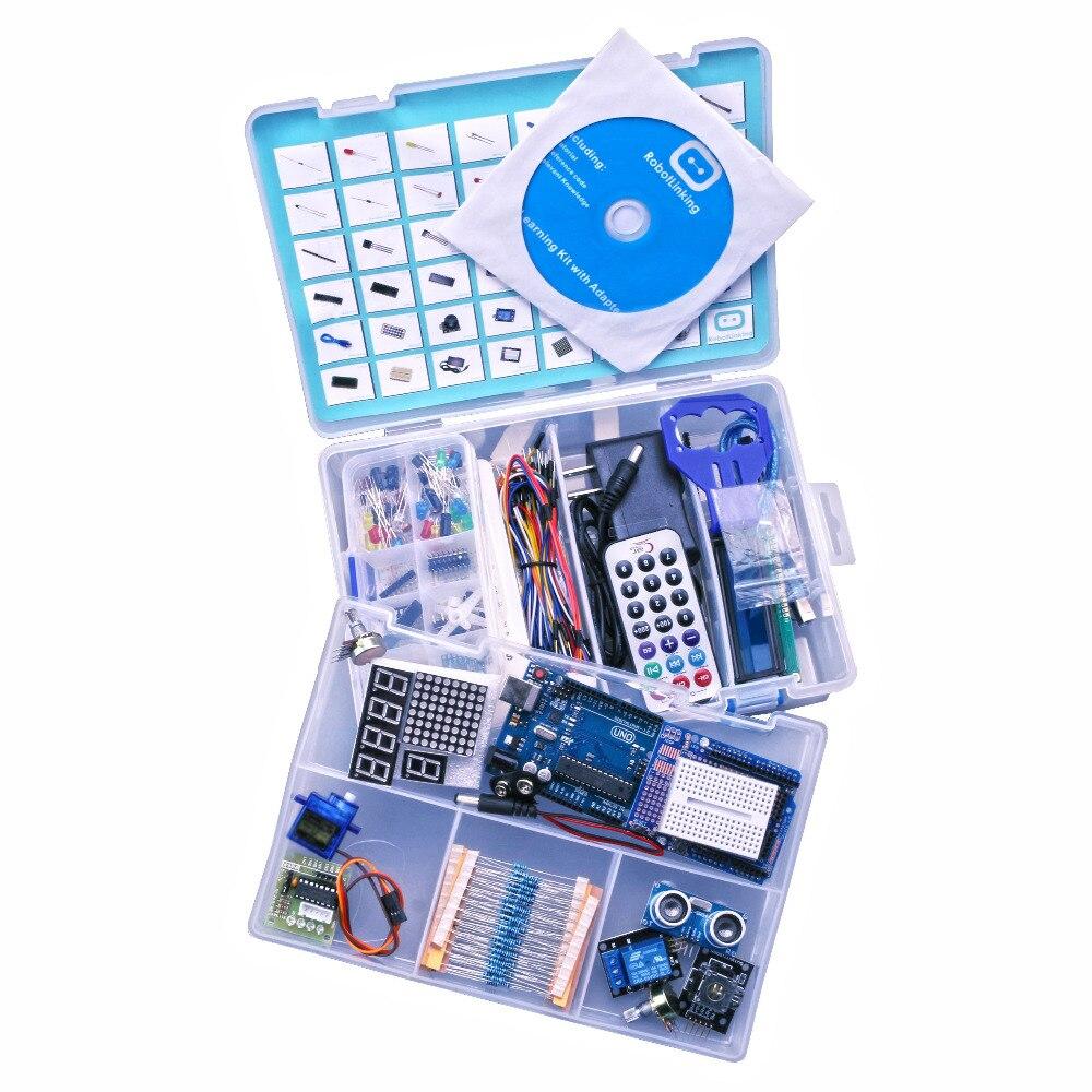 Kit de bricolage électronique pour arduino Uno R3 Suite d'apprentissage de base avec moteur pas à pas PDF/LCD1602/serveur - 3