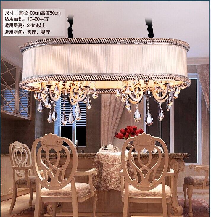 D1000mm h500mm lustres en cristal classique tissu led for Lustre de salon moderne