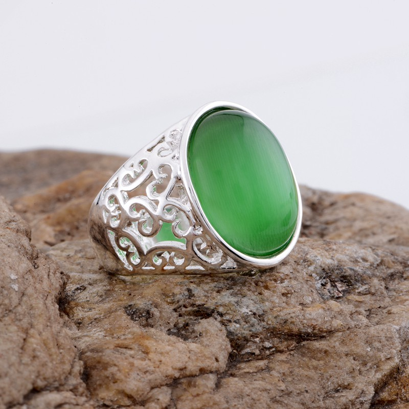 aquamarine stone hollow Wholesale silver plated ring 925 Fashion jewelry Silver Ring AVXOXPBS